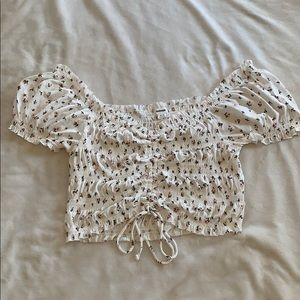 GARAGE cropped blouse with flowers